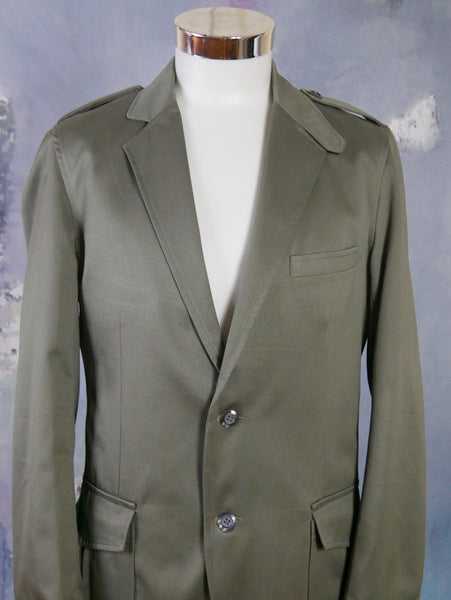Army Green Blazer, European Vintage Single-Breasted Military Style Jacket w Epaulets: 38 US/UK - DownShifting Vintage Menswear