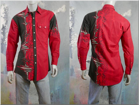 1980s Western Rockabilly Shirt, Red Black & White Cotton w Diamond Shape Pearl Snap Buttons: Size 42 to 44 US/UK - DownShifting Vintage Menswear