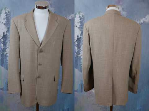Beige Blazer, 1990s European Vintage Wool Linen Blend Single-Breasted Jacket, Retro Sport Coat, Made in Finland: Size 44 US/UK - DownShifting Vintage Menswear