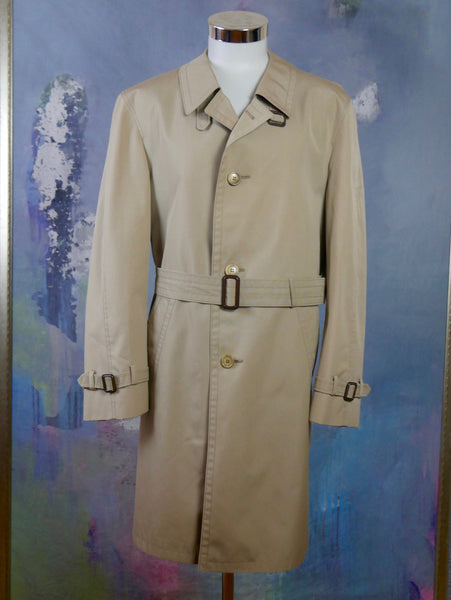 Beige Trench Coat, 1970s German Vintage Single-Breasted Belted Raincoat Overcoat, Retro Menswear: Size 44 US/UK - DownShifting Vintage Menswear