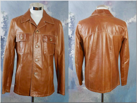 1980s Italian Vintage Butternut Squash Brown Soft Leather Jacket: Size 38 US/UK - DownShifting Vintage Menswear