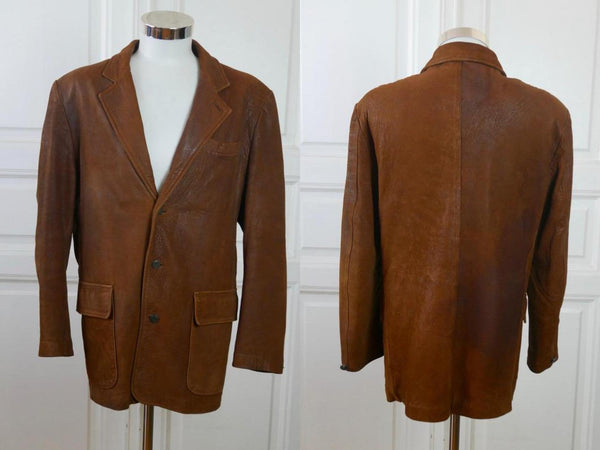 1980s Vintage Leather Jacket, Swedish Blazer Style Men's Jacket: Size 42 US/UK - DownShifting Vintage Menswear