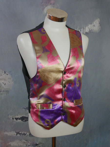 Abstract Pattern Satin Vest, 1980s British Vintage Gold Pink & Purple  Pointed-Front Waistcoat w Solid Black Back: Size 40 US/UK - DownShifting Vintage Menswear