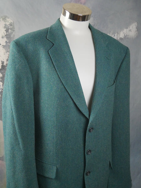 1980s Vintage Turquoise Herringbone Tweed Wool Blazer, European Single-Breasted Jacket: Size 42 US/UK - DownShifting Vintage Menswear