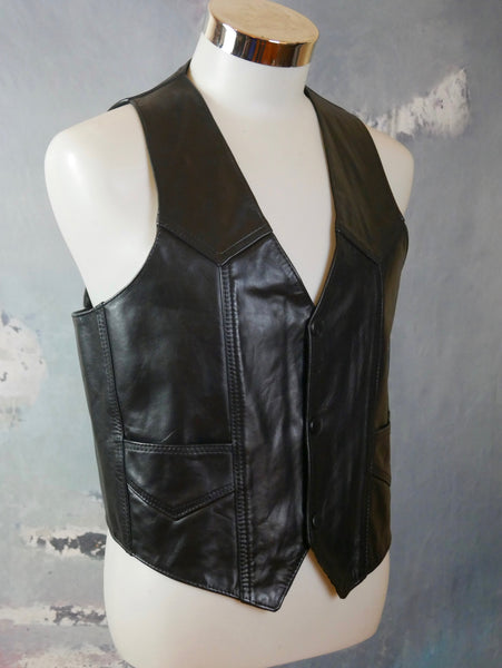 1990s Black Leather Vest, Pointed-Front Waistcoat: Size 36 to 38 US/UK - DownShifting Vintage Menswear