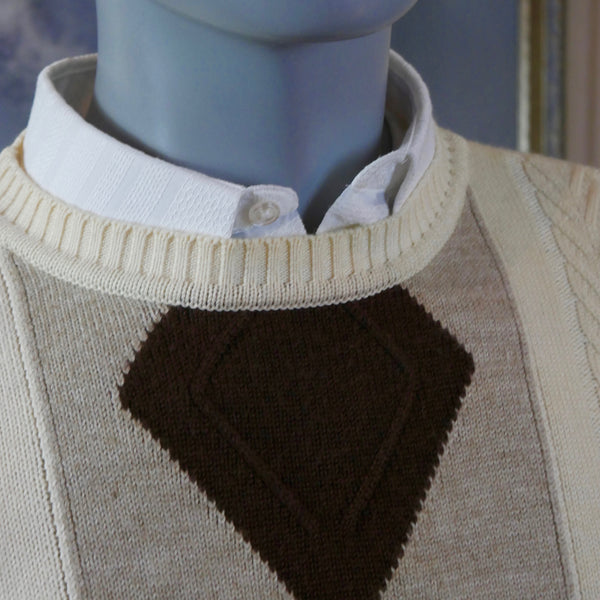 1980s French Vintage Cable Knit and Argyle Sweater, Cream Beige & Brown Crew Neck Knit Pullover Jumper: Size 46 to 48 US/UK - DownShifting Vintage Menswear