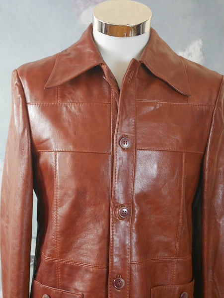 1970s Leather Jacket, Rich Butternut Squash Ruddy Brown Color with Wide Lapels: Size 38 US/UK - DownShifting Vintage Menswear