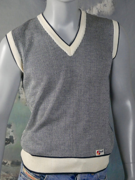 Italian Nautical Sweater Vest, 1980s Vintage Navy Blue & White Striped V-Neck Sleeveless Pullover: Size 36 US/UK - DownShifting Vintage Menswear