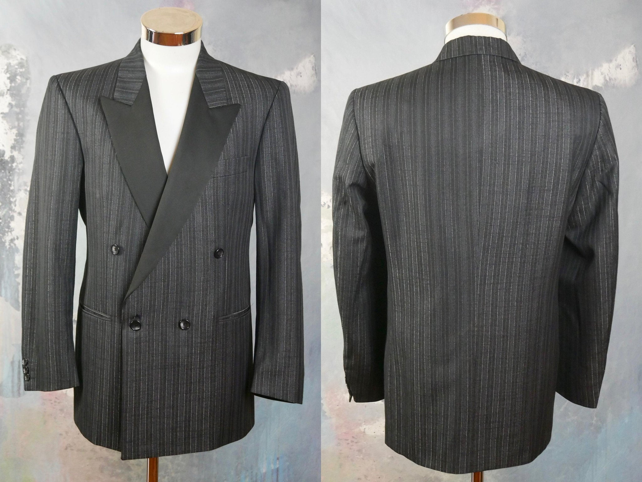 Black & Silver Striped Tuxedo Jacket, 1980s European Vintage Double-Breasted Peak Lapels Smoking Jacket, Made in Switzerland: Size 40 US/UK - DownShifting Vintage Menswear