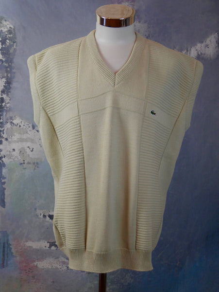 Vintage Lacoste Sweater Vest, 1980s Beige Cotton Knit Sleeveless V-Neck Pullover, Made in France: Size 46 to 48 US/UK - DownShifting Vintage Menswear