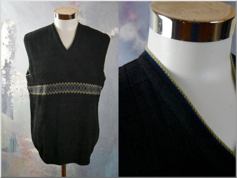 Black Sweater Vest, 1980s Vintage Knit V-Neck Sleeveless Pullover: Size 40 to 42 US/UK - DownShifting Vintage Menswear