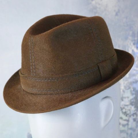 1960s Swedish Vintage Brown Lapin Fur Felt Fedora: Size Small - DownShifting Vintage Menswear