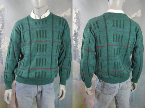 1980s Turquoise Green Crew Neck Sweater with Block Geometric Pattern, European Vintage Soft Wool Alpaca Blend Pullover: Size 42 to 44 US/UK - DownShifting Vintage Menswear