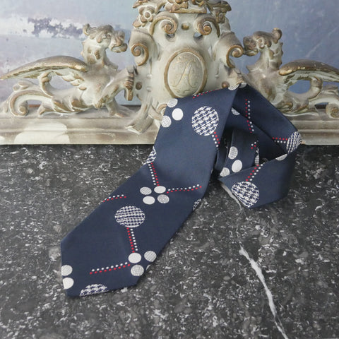 Abstract Polka Dot Necktie, Wide 1970s Gray White and Red on a Navy Blue Background Tie - DownShifting Vintage Menswear