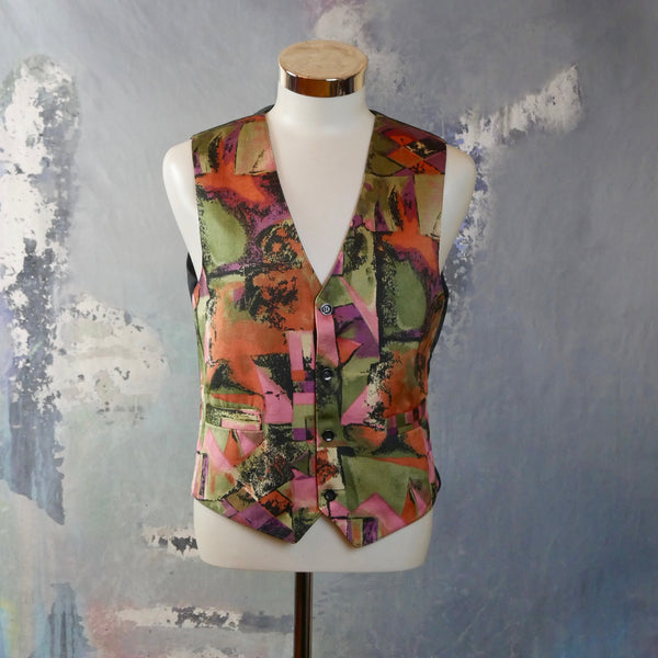 1980s Vest, European Vintage Orange Green Black Purple and PinkAbstract Pattern Synthetic Silk Waistcoat: Size 40 US/UK - DownShifting Vintage Menswear
