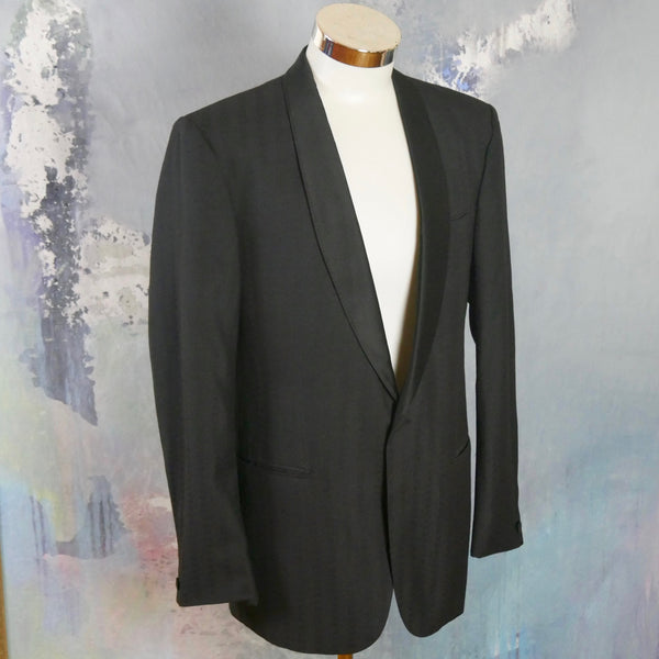 1980s Vintage Tuxedo Jacket, Black Shawl Collar Formal Smoking Jacket, Textured Fabric Rat Pack Style Retro Menswear: Size 42 US/UK - DownShifting Vintage Menswear