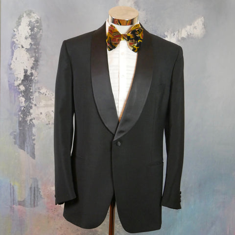 1980s Tuxedo Jacket, Black Shawl Collar Formal Smoking Jacket, Retro Menswear: Size 42 US/UK - DownShifting Vintage Menswear