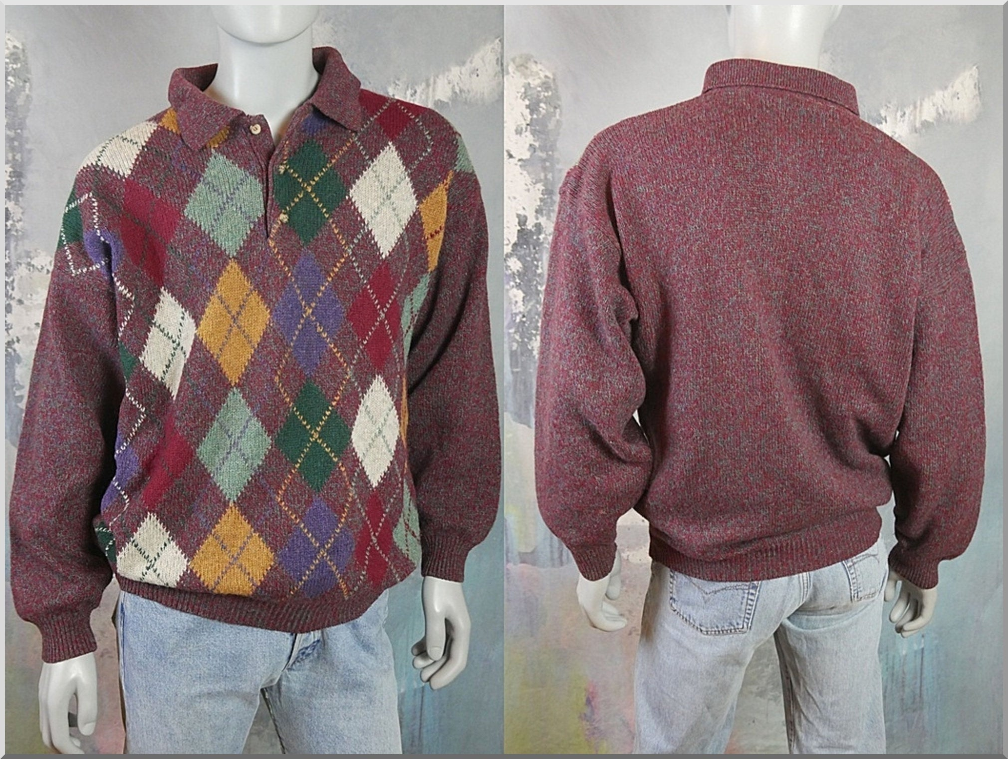 Argyle Sweater Shirt, 1980s Italian Vintage Light Burgundy Wool Blend Knit Pullover Jumper: Size 46 to 48 US/UK - DownShifting Vintage Menswear