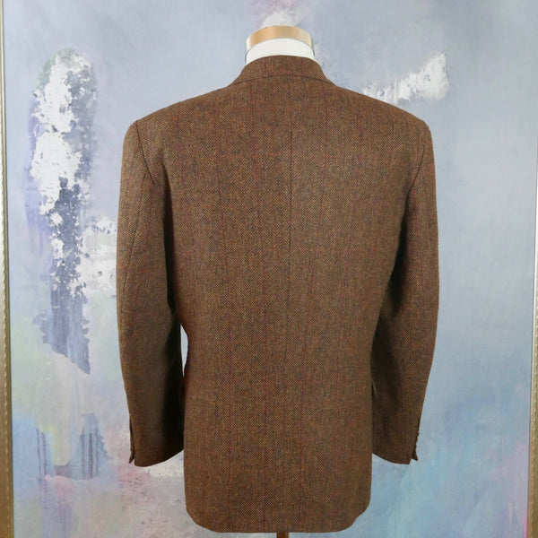 1980s Tweed Blazer, Brownish Bronze Single-Breasted Herringbone Wool Jacket, 1980s European Vintage Sport Coat: Size 42 to 44 US/UK - DownShifting Vintage Menswear