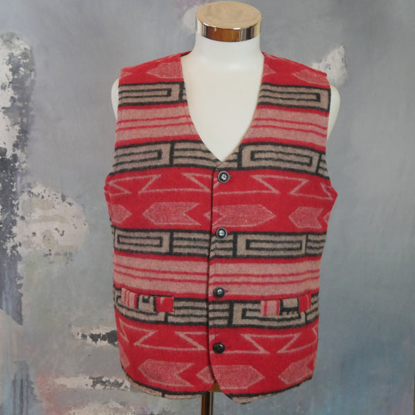 Aztec Vest, 1990s Vintage Red Black & Taupe Southwest Pattern Wool Blend Waistcoat: Size 40 US/UK - DownShifting Vintage Menswear