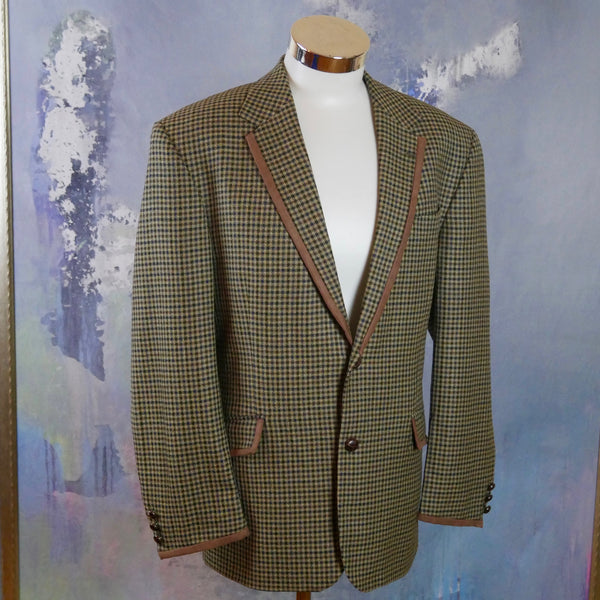 Gun Club Check 1980s Swedish Vintage Blazer, Camel Beige Brown & Navy Blue Wool Jacket with Elbow Patches: Size 44 US/UK - DownShifting Vintage Menswear