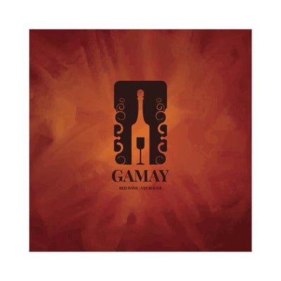 Gamay Wine Glass in Bottle Abstract Labels (PK50)