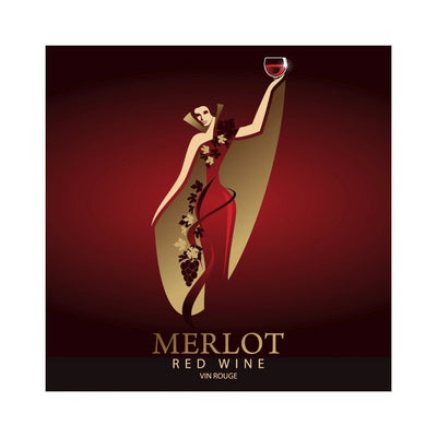 Merlot Lady in Red Dress and Golden Cape Labels (PK50)