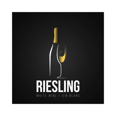 Riesling Golden Bottle and Glass of Wine Labels (PK50)