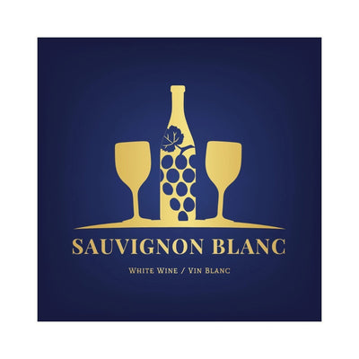 Sauvignon Blanc Blue and Gold Glasses and Bottle Labels (PK50)
