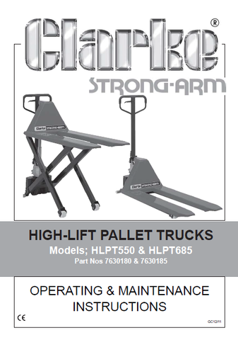 Parts Manual HLPT550 Clarke Strongarm - Pallet Trucks Direct