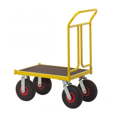 400kg Platform Truck With Pneumatic Wheels (600mm x 1000mm) - Pallet Trucks Direct