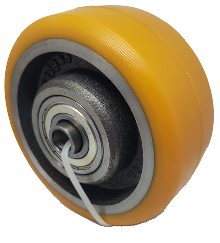 140mm x 60mm x 15mm (74.5mm Mounting Width) Polyurethane Stabiliser Wheel - Pallet Trucks Direct