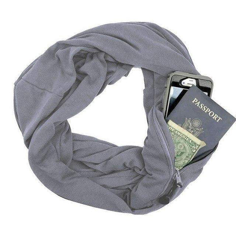 Trendy Holo Grey Convertible Scarf with Pocket