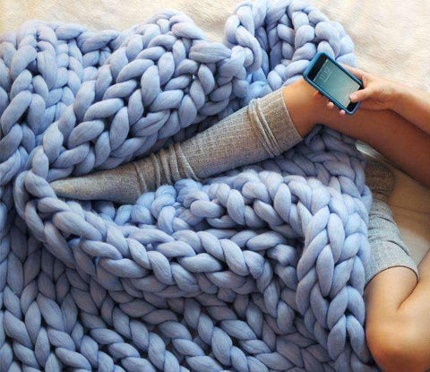 Image of trendyholo.com BEST SELLER BABY BLUE / 79x79 INCHES 70% OFF-SAVE $455 (HIGHEST VALUE) Handmade Chunky Knit Blanket