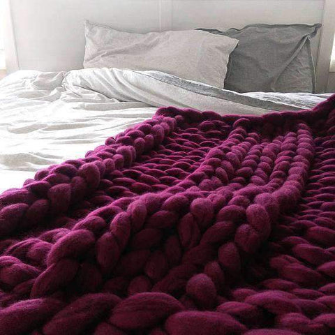 Image of trendyholo.com BEST SELLER BURGUNDY / 79x79 INCHES 70% OFF-SAVE $455 (HIGHEST VALUE) Handmade Chunky Knit Blanket