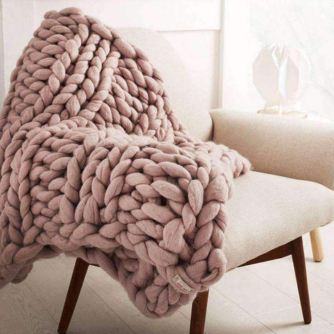 Image of trendyholo.com BEST SELLER KHAKI / 79x79 INCHES 70% OFF-SAVE $455 (HIGHEST VALUE) Handmade Chunky Knit Blanket