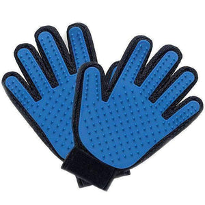 trendyholo.com 1 pair / Blue Pet Grooming Deshedding Brush Glove (for Cats/Dogs)