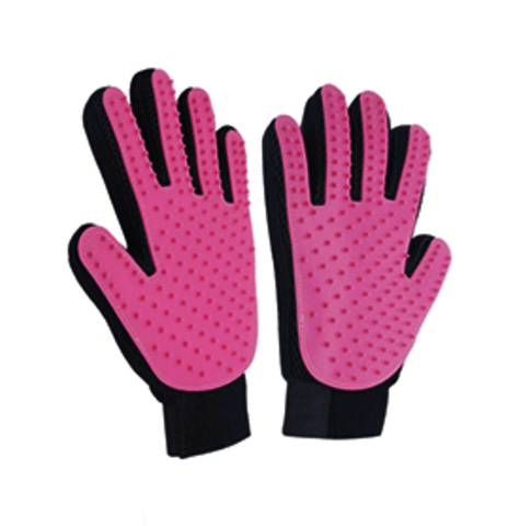 trendyholo.com 1 pair / Pink Pet Grooming Deshedding Brush Glove (for Cats/Dogs)