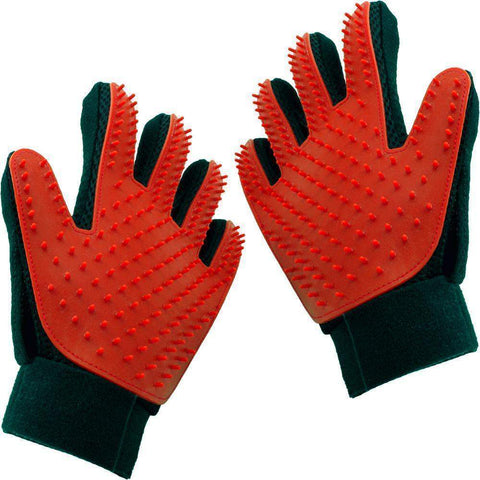 trendyholo.com 1 pair / Red Pet Grooming Deshedding Brush Glove (for Cats/Dogs)