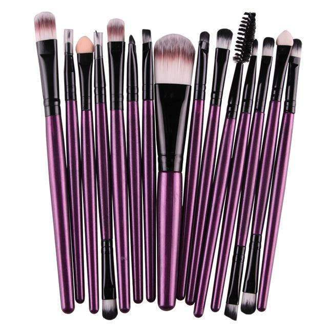 trendyholo.com Health & Beauty Purple-Black Professional Complete Set of 15 Brushes
