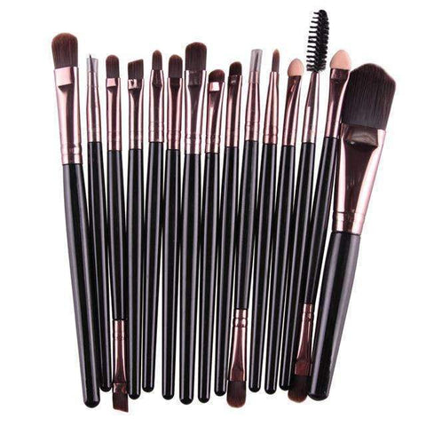 Image of trendyholo.com Health & Beauty Black-Rose Gold Professional Complete Set of 15 Brushes