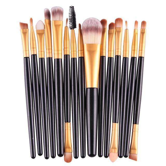 trendyholo.com Health & Beauty Black-Gold Professional Complete Set of 15 Brushes