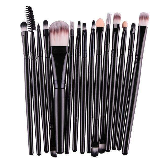 trendyholo.com Health & Beauty Black Professional Complete Set of 15 Brushes