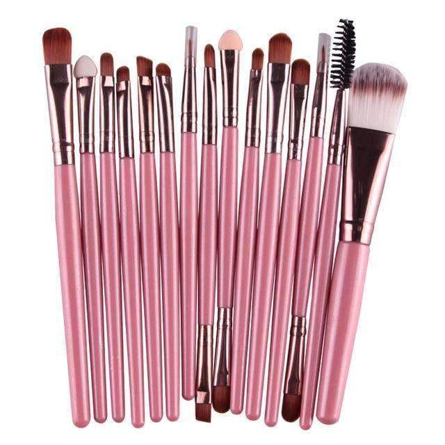 trendyholo.com Health & Beauty Pink Professional Complete Set of 15 Brushes