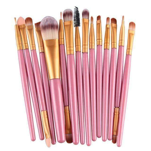 trendyholo.com Health & Beauty Pink-Gold Professional Complete Set of 15 Brushes