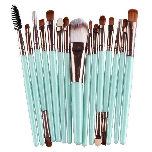 trendyholo.com Health & Beauty Blue Professional Complete Set of 15 Brushes