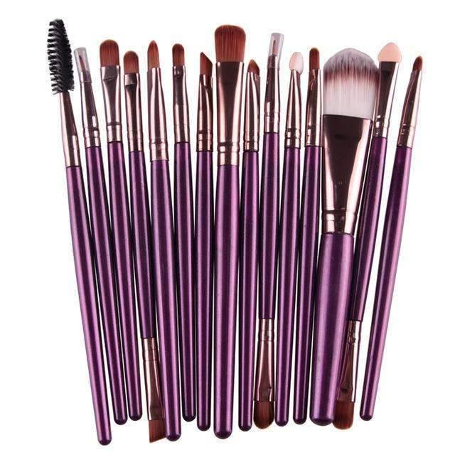 trendyholo.com Health & Beauty Purple Professional Complete Set of 15 Brushes