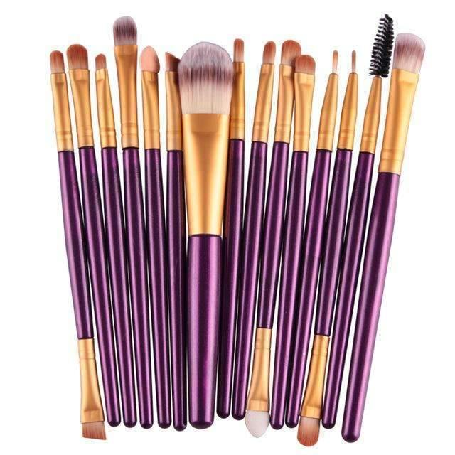trendyholo.com Health & Beauty Purple-Gold Professional Complete Set of 15 Brushes