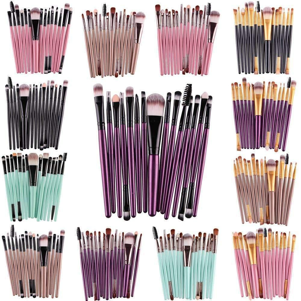 trendyholo.com Health & Beauty Black-Rose Gold Professional Complete Set of 15 Brushes