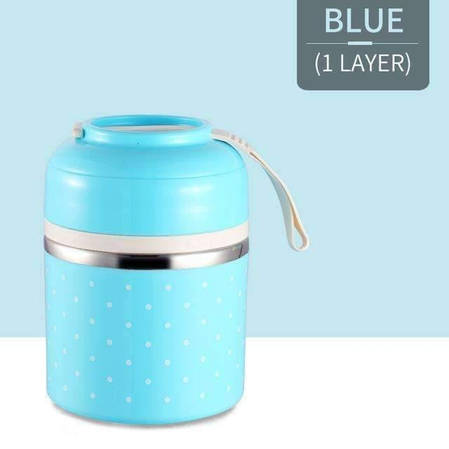trendyholo.com Blue 1 Layer Stainless Steel Compartment Lunch Box